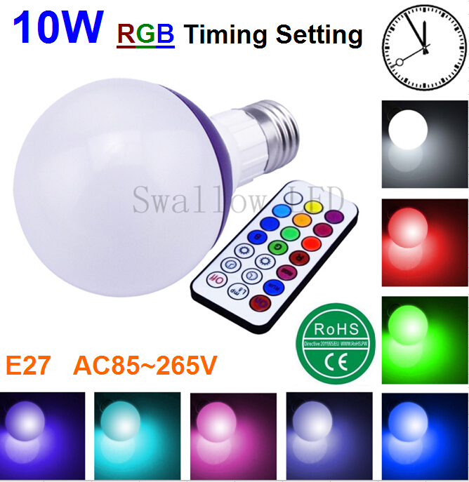 10W E27 LED RGB light Bulb lamp Colorful RGB Changing + Cool White Dimmable Customized Timing Setting with IR Remote Control(China (Mainland))