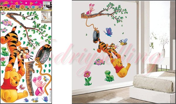 63 018 children room baby kids lovely cartoon animals - Dessin mural chambre fille ...