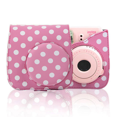 Fashion Sweety Polka Dot Camera bag for Fujifilm Instax mini 8 Camera Bag Pink White Dot PU Leather Camera Case with strap(China (Mainland))