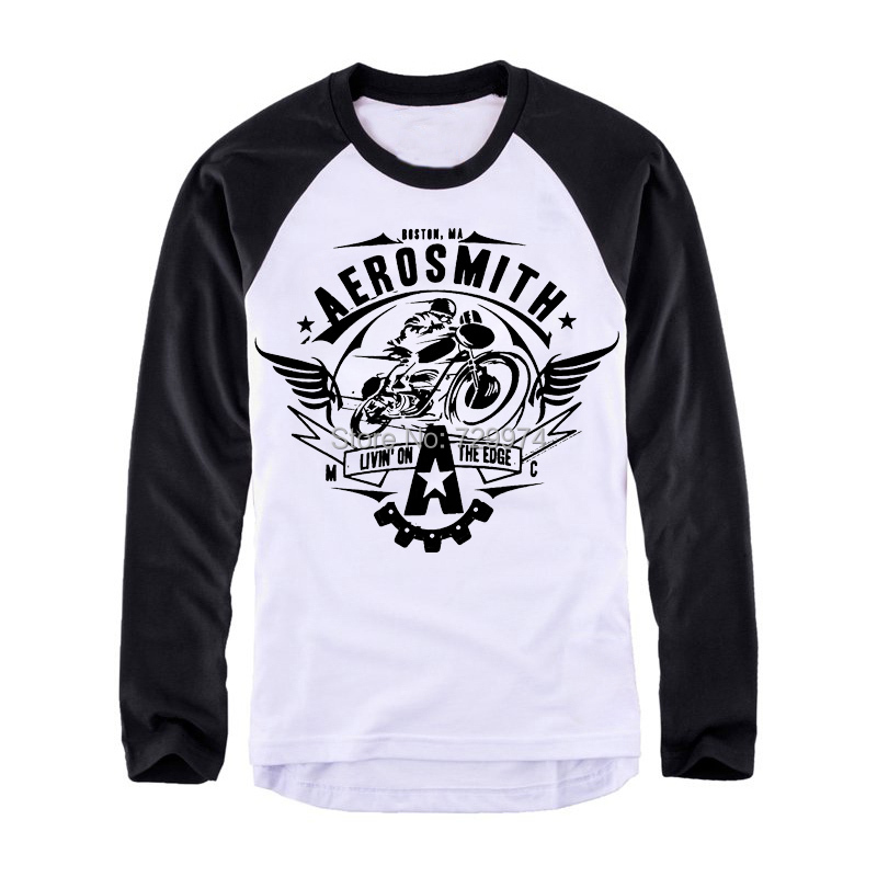 Aerosmith logo printing full long sleeve thick cotton t for Tee shirt logo printing