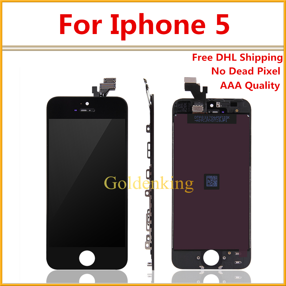 10 PCS/LOT Free DHL Shipping AAA Display for iPhone 5G 5 LCD Screen in White and Black with Digitizer Assembly(China (Mainland))