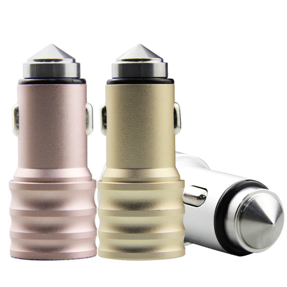 Car Charger Dual USB 5V/2.4A Quick Charger With Emergency Hammer Car-charger For IPhone 4/4s/5/5s/6/6s Samsung Universal Phone