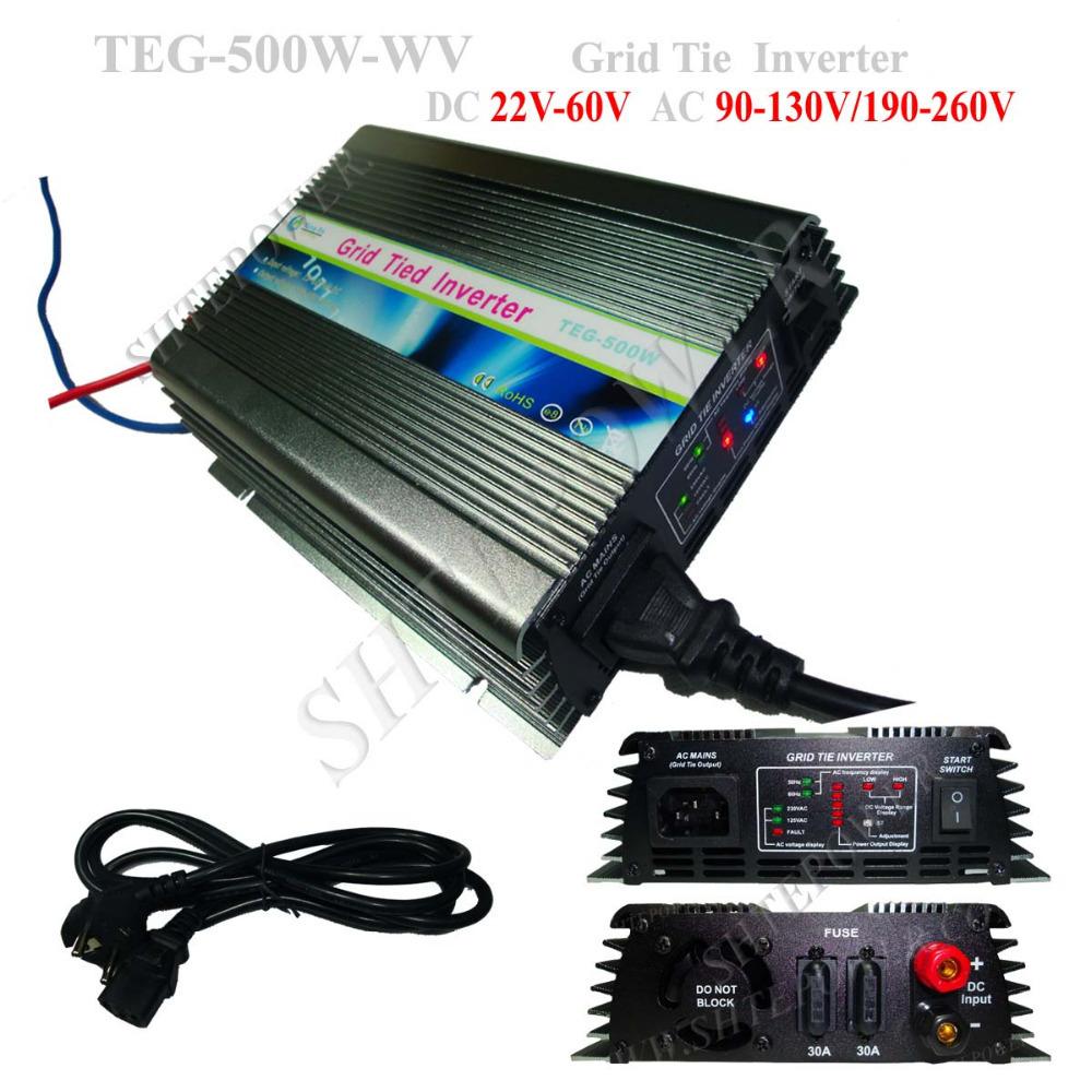 500W grid tie solar inverter, best solar panel converter, 22-60v DC to 90-130v/190-260v AC solar inverter on grid(China (Mainland))