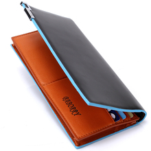 with zipper new 2015 men wallets famous brand long thin wallet male money purses with Flip