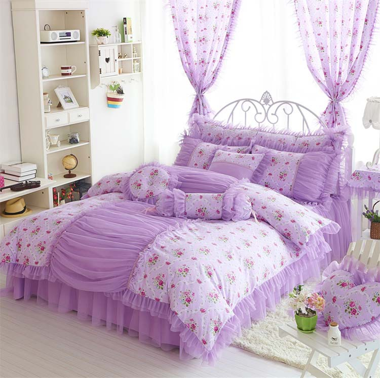 Princess bedclothes 100 cotton bedding set bed skirt lace style