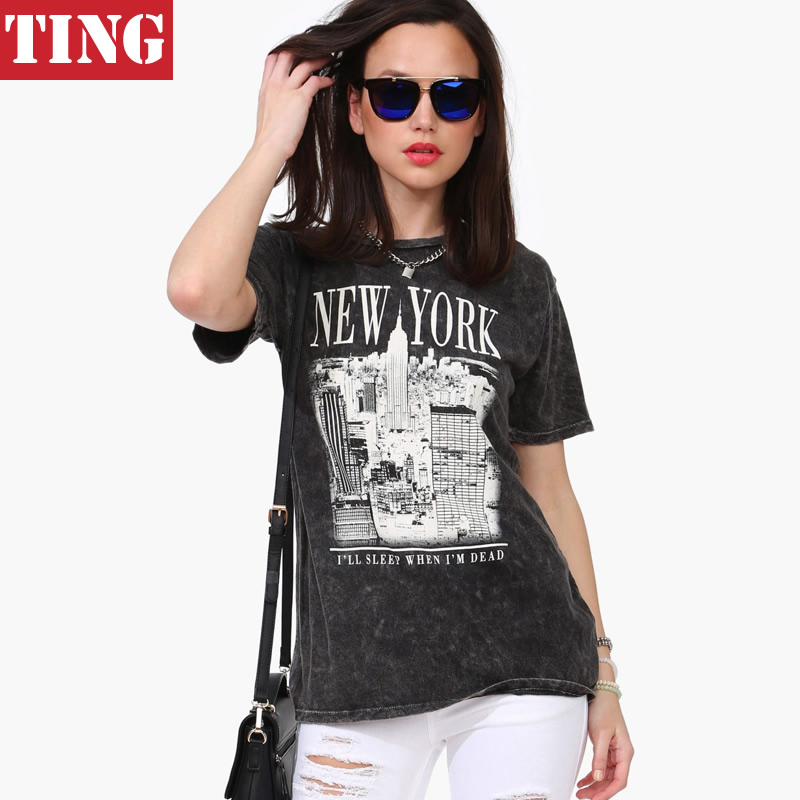 Grey new york letter city graphic print women t shirt plus for New york printed t shirts