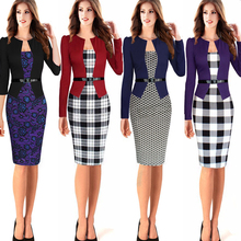 Casual Office Women Dress Party Elegant Faux Twinset Belted Tartan uniform Patchwork Work Office Pencil Sheath Bodycon Dresses