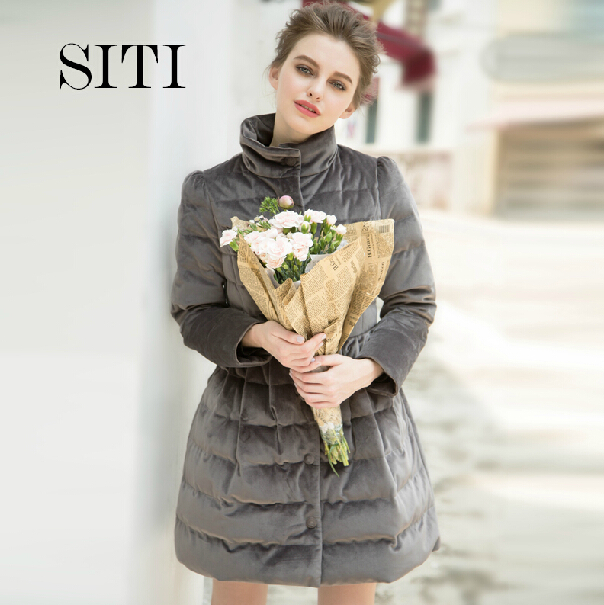 2014 winter new fashion womens coat slim stand collar Bowknot mid-long outerwear Dropship - Andy Xu store