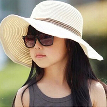 2016  Fashion Boy Girls Sun Hat Kids Wide Brim straw hats chapeu children summer visor beach hat Foldable cappelli chapeau(China (Mainland))