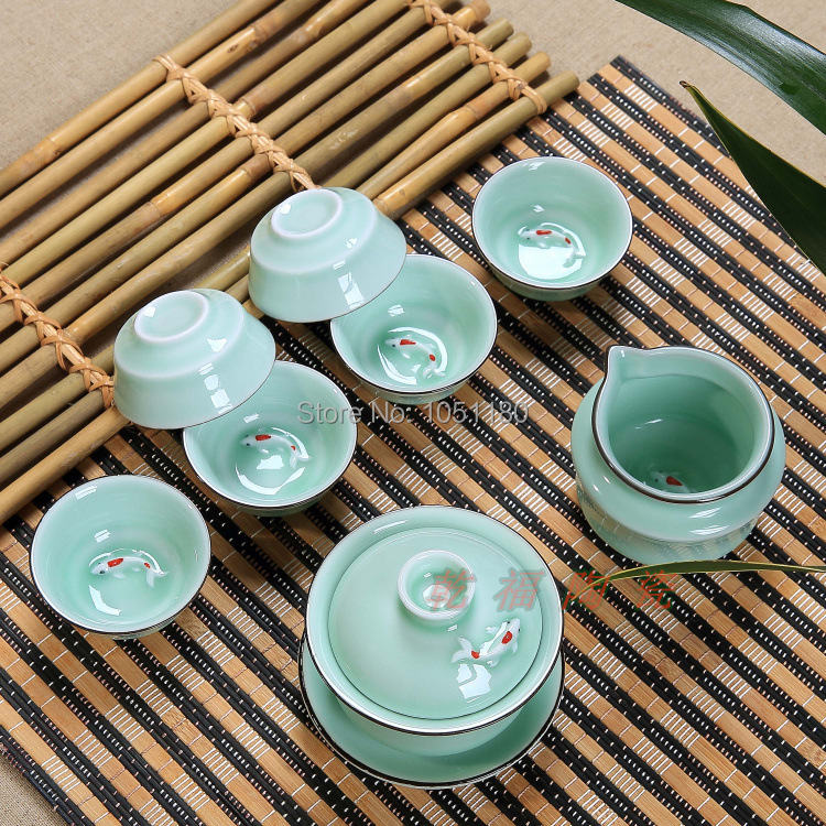 Eight pisce set ceramic longquan celadon tea cup kit high quality new Arrival Kung fu tea