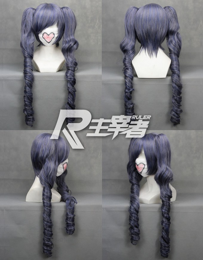 Black Butler Women's Ciel Phantomhive Cos Wig 2 Ponytails Blue Mix Grey Omber Wigs Long Curly 70cm Cosplay Synthetic Hair Wigs(China (Mainland))