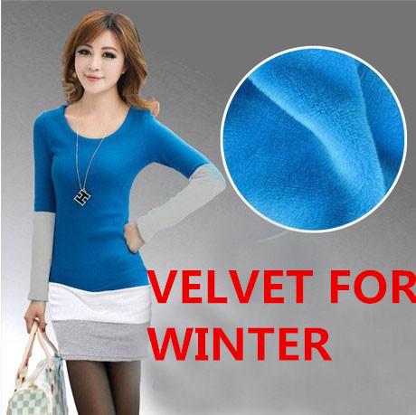2014 New Winter Velvet Warm Dress Women Cotton Striped Long Sleeve Slim Fit Casual Lady Tunic Blue,Pik,Black - BIG SIZE GARMENTS store