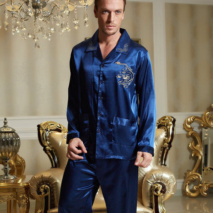 2015 Spring men pajama sets imitation silk full sleeve sleepwear V neck button casual blue pijamas masculinos 3313 bule color(China (Mainland))
