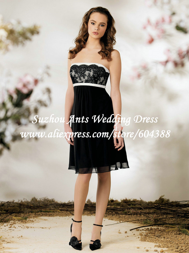 2013 short cocktail dresses black and white chiffon a line