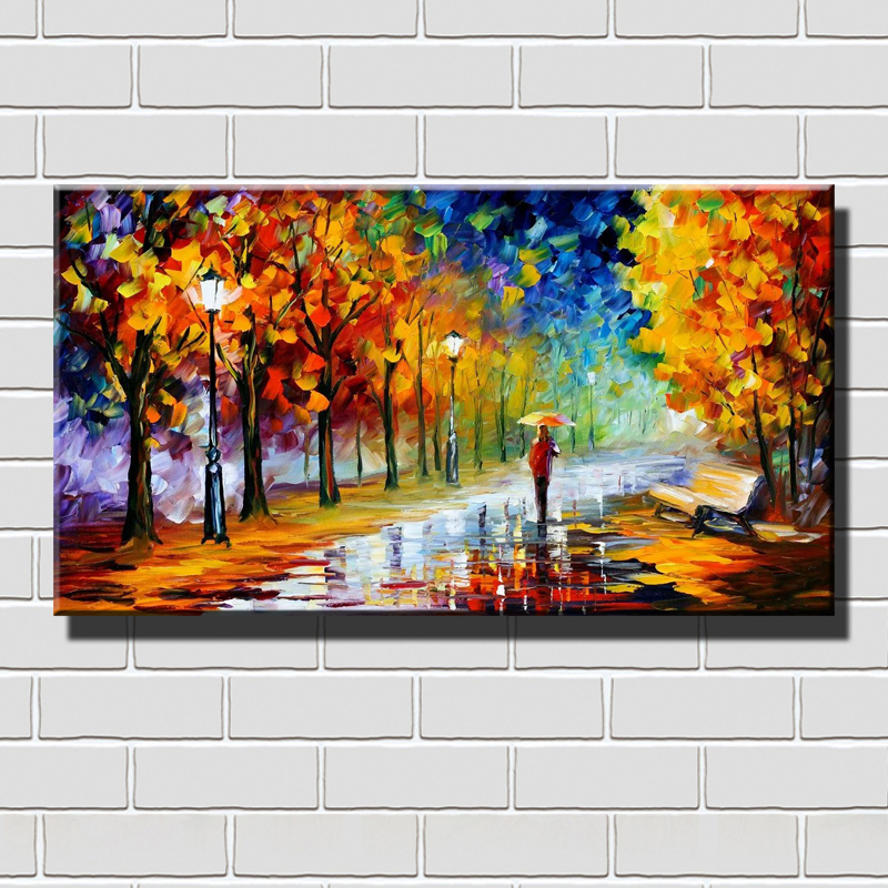 Abstract Painting for Sale High Quality Hand Painted Oil Paintings by our Artists Walking alone with Umbrella on a Rainy Day(China (Mainland))