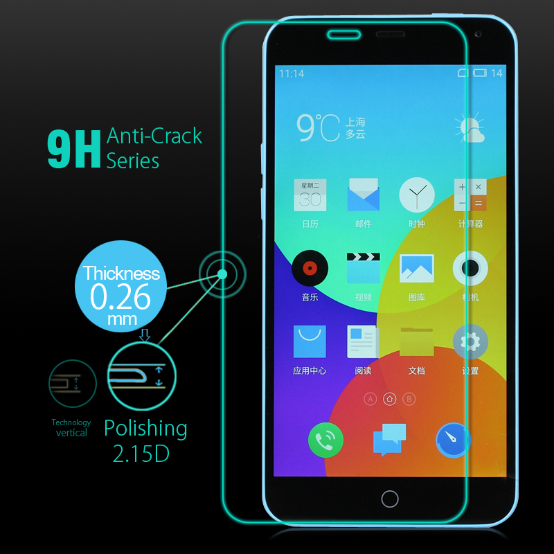 Pen&Retail & Meizu M1 Note Tempered Glass Screen Protector Original Noblue Note Screen Cover Guard Protective Film Dry Wet Wipes(China (Mainland))