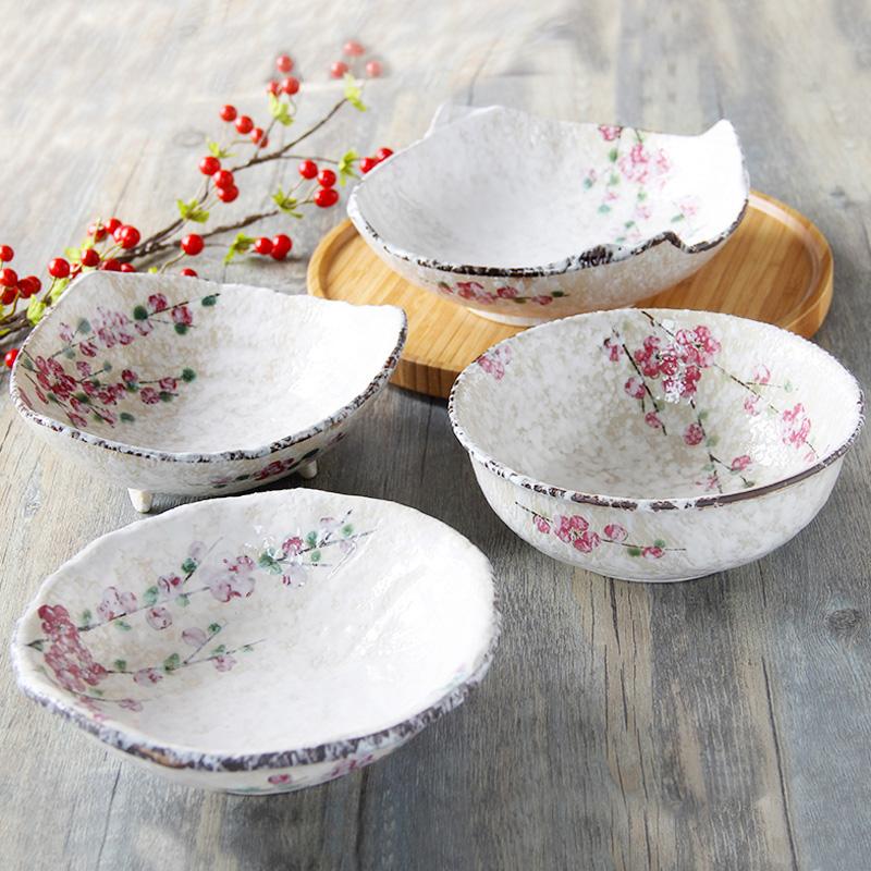 JapanStyle red plum blossom handpaint ceramic bowl porcelan tableware rice bowl SUSHI cold dish