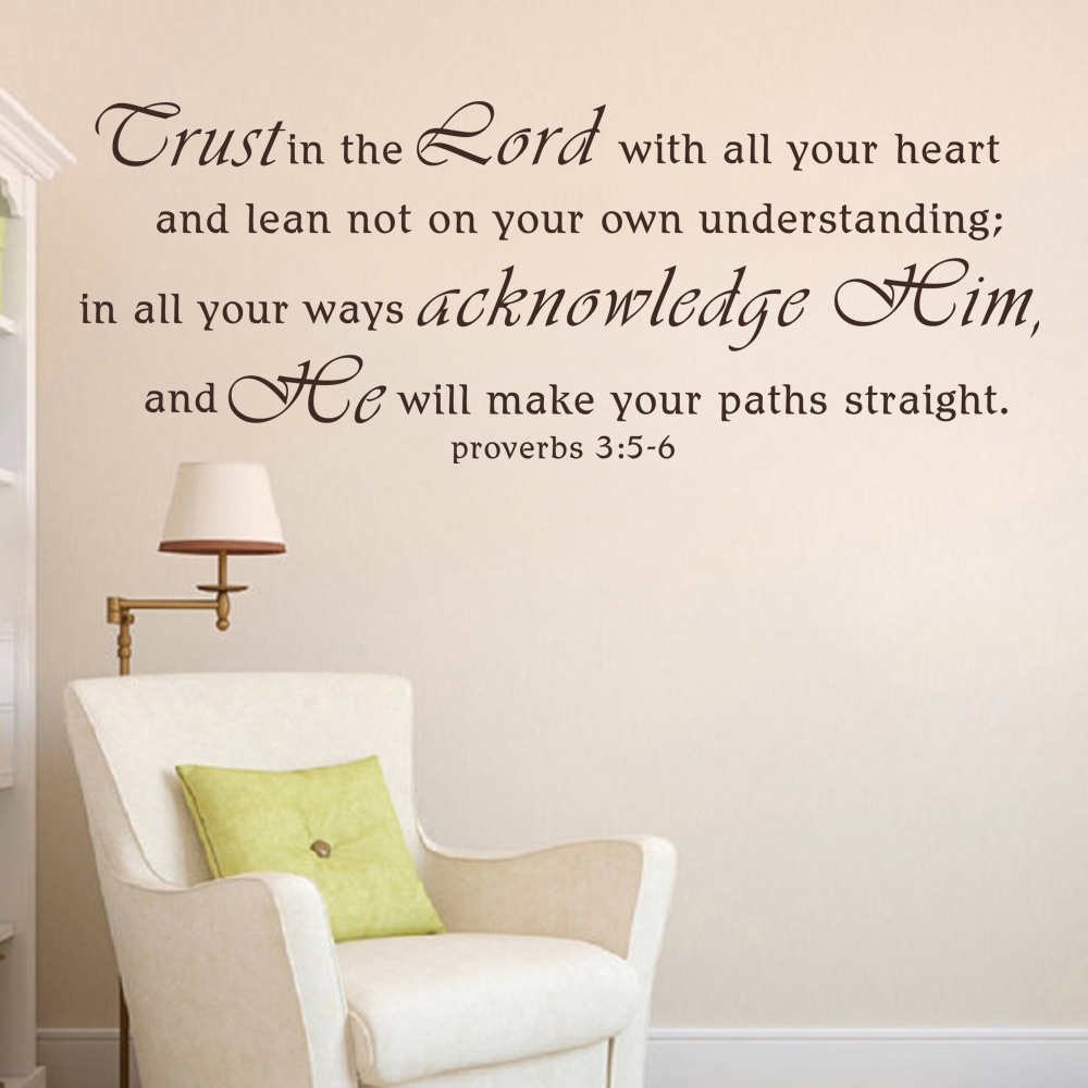 christian wall decal scripture sticker vinyl wordstrust in trust in the lord wall decal proverbs 35 6 decal vinyl