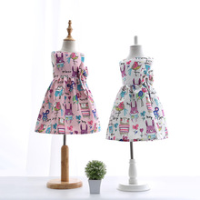 Retail baby girls cartoon European and American Style dress Bow A-line sleeveless next Graffiti square collar children clothing