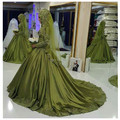 Oumeiya OW549 Lime Green Satin Princess Ball Gown High Neck Long Sleeve Hijab Muslim Wedding Dress