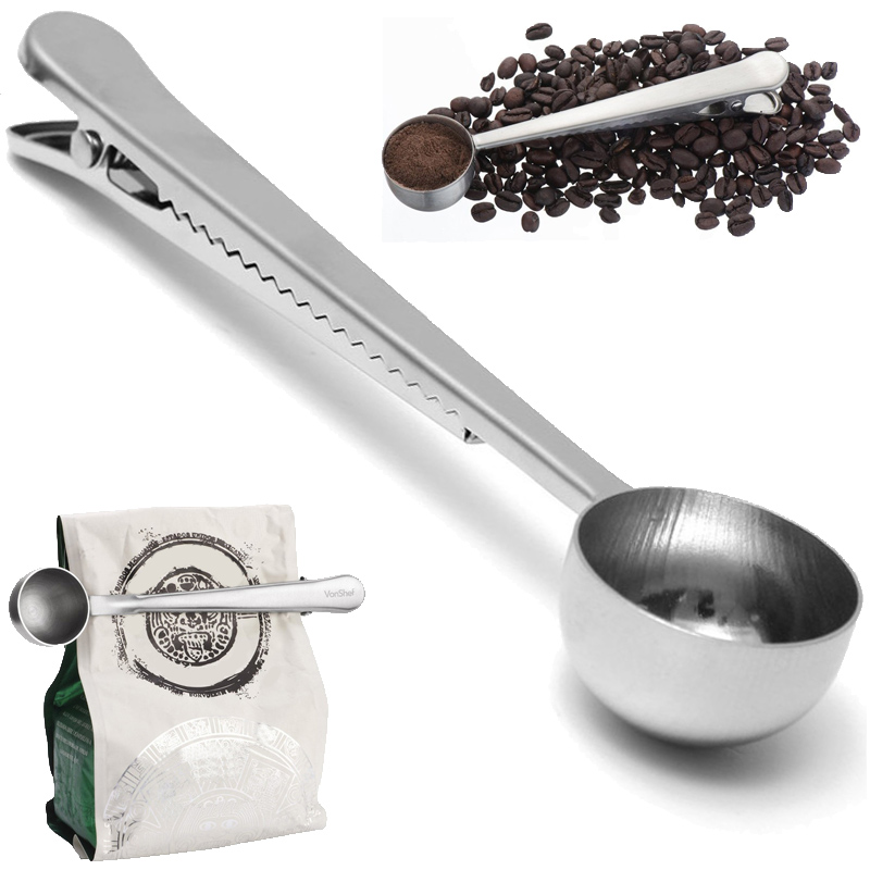 Hot New Silver Stainless Steel Ground Coffee Milk Powder Measuring Scoop Spoon With Bag Sealing Clip(China (Mainland))