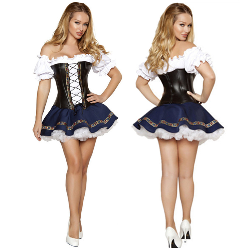 Fantasias Women Bavarian Costume Oktoberfest Maid Gothic Lolita Dress German Beer Girl Halloween Costumes - Fashion Worldwide Clothing store