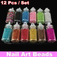 [YZJS-02] 12 Different Color/Set Tiny Circle Bead Decoration 3D Nail Art Beads Caviar Nail Art Bottle Set