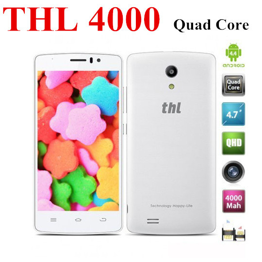 Instock Original THL 4000 mobile phone MTK6582 Quad core cell phones 1.3Ghz smartphone Android4.4 4.7'' 4000mAh(China (Mainland))