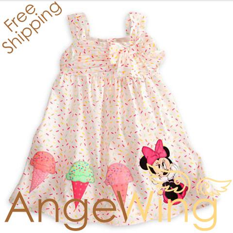 2013 Summer Dress Children Girl's Cartoon Minnie Mouse Ice Cream Casual Strap Dress Free Shipping