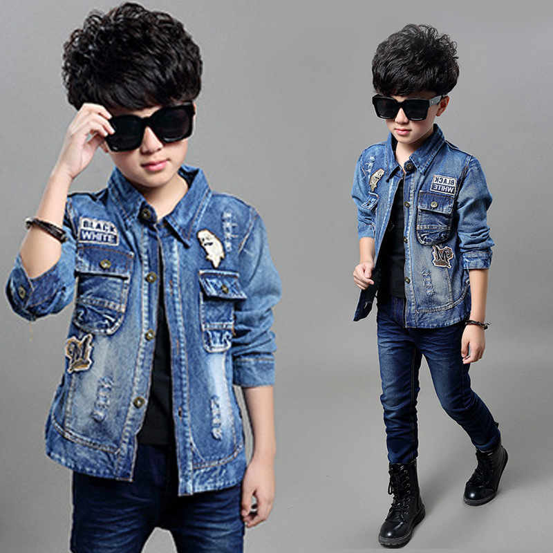 new spring 2016 fashion boy clothing fashion children jacket M standard wash denim casual coat jacket kids jeans clothes<br><br>Aliexpress