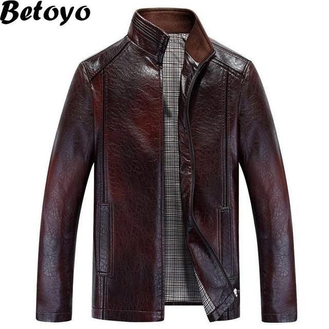 5PY48 2016 мужская Кожаная Куртка Бренд Куртка Мужская Ветрозащитный и Водонепроницаемый ...