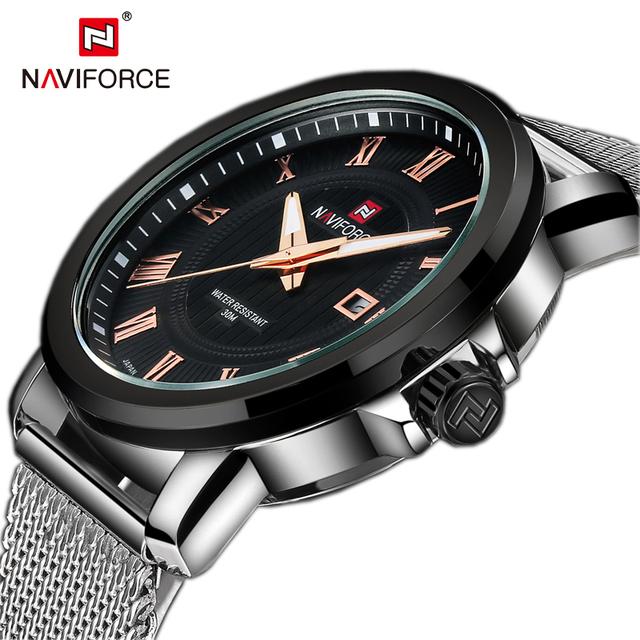 Топ роскошные Naviforce календарная мужские часы бренда сетка из нержавеющей стали бизнес кварцевые мужские наручные часы тонкий диск relojes хомбре 2015 новый