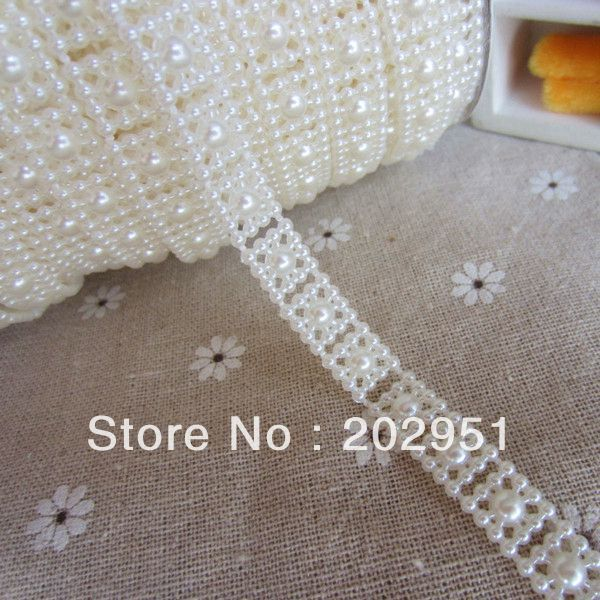 (10mm wide 25m/roll) ABS pearl trim Ivory Connection pearls for garment accessories or wedding dress decoration,Freeshipping(China (Mainland))