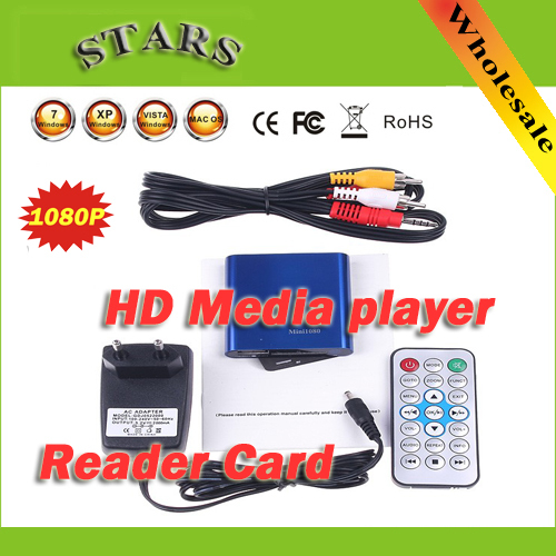 2 pcs drop shipping MINI Full HD 1080P HDD Mulit media player hdmi With SD card reader support MKV DVD media Player media center(China (Mainland))