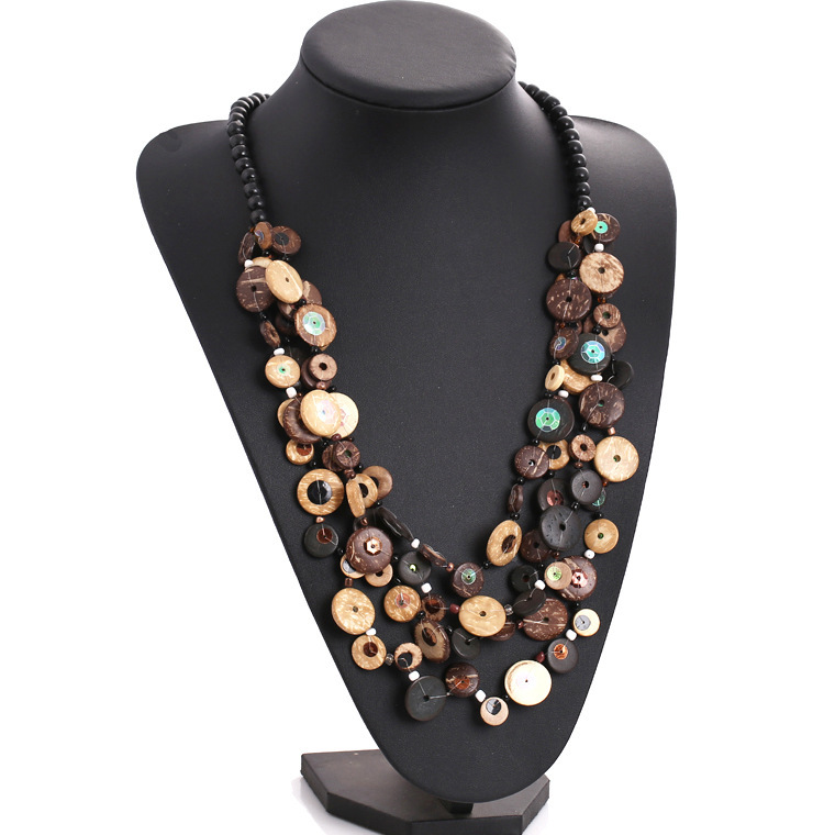 Newest african beads jewelry multi layer necklace gold Coconut shell statement 2015 bohemian necklace women wholesale sc4(China (Mainland))