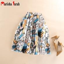European And American Women Portrait Print Skirts 73CM Mid-Calf Length Pleated High Waist Skirt Fluffy Flared Saias Femininas