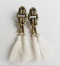 Korean fashion multi-color long tassel Earring M1329(China (Mainland))