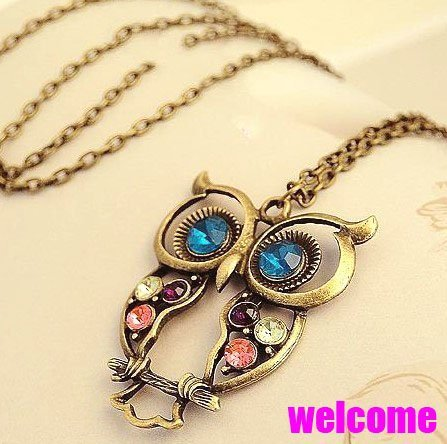 Free shippping Big discount! fashion vintage bronze Rhinestone owl Necklaces Statement  jewelry for women wholesale PT33