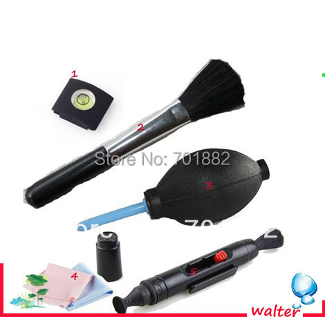Camera Cleaning 5 in 1 Cleaning Set Suit Lens Pen Air Blower Cleaning Lens Cloth Spirit Hot Shoe Cover Lens Brush for all DSLR(China (Mainland))