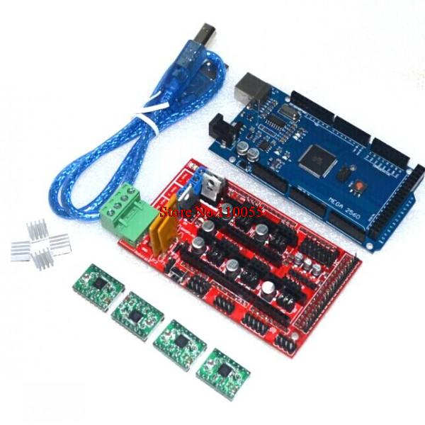 Mega 2560 R3 + 1pcs RAMPS 1.4 Controller + 4pcs A4988 Stepper Driver Module for 3D Printer kit Reprap MendelPrusa Free Shipping(China (Mainland))