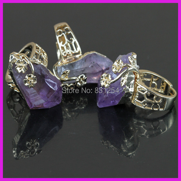 1PC New Natural Purple Crystal Quartz 24K Gold Lace Ring Beautiful Amethyst Stone Charm Temperament Engagement Ring Fewelry(China (Mainland))