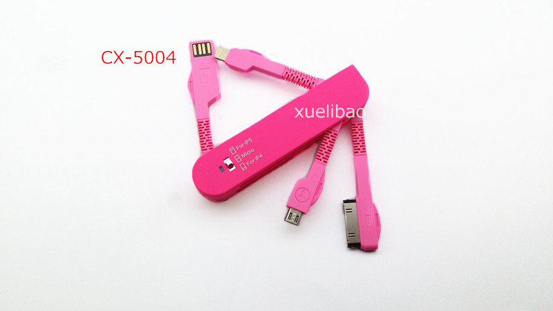 3 IN 1 USB2.0 Folding Data cable For iPhone 8pin 30pin Interface Support Micro USB Five colors CX-5004 Guaranteed 100%(China (Mainland))