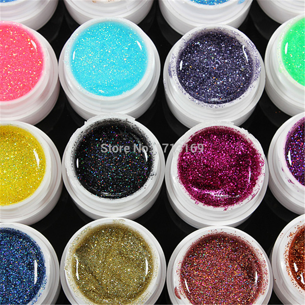 BUY 5 GET 1 FOR FREE 8ml 36 Pure Glitter Colors Nail Art Gel UV Solid Polish Shimmer powder Manicure Colorful DIY Builder Tip(China (Mainland))