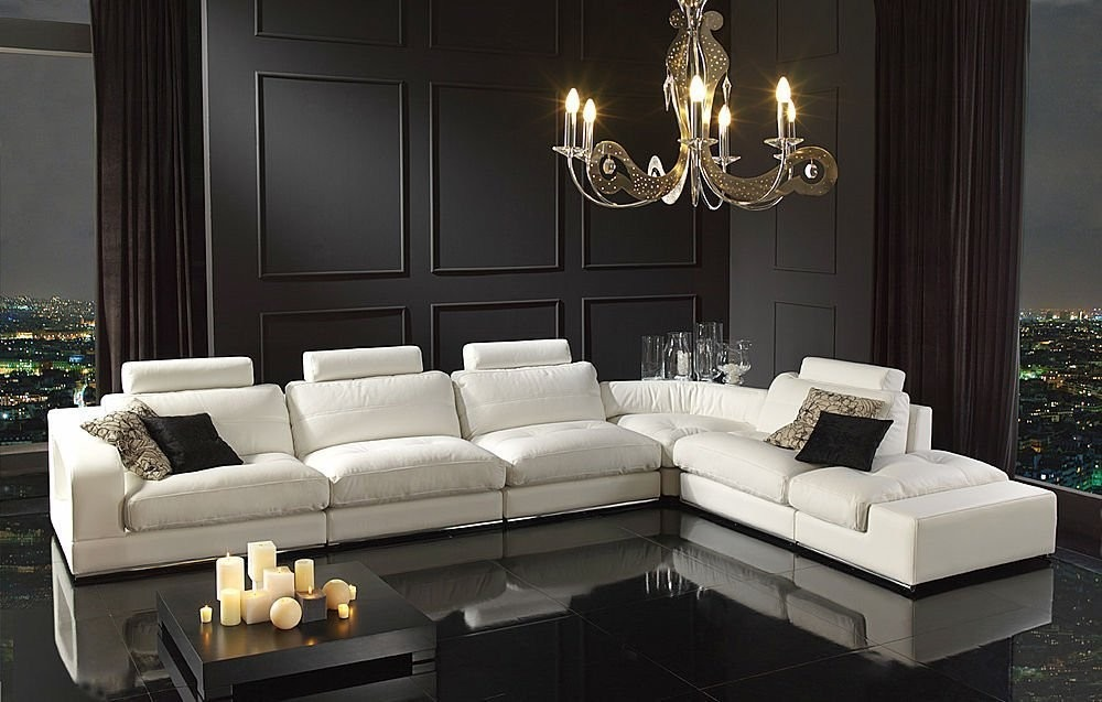 Modern italian genuine leather l shaped sectional sofa set for Sofas grandes modernos