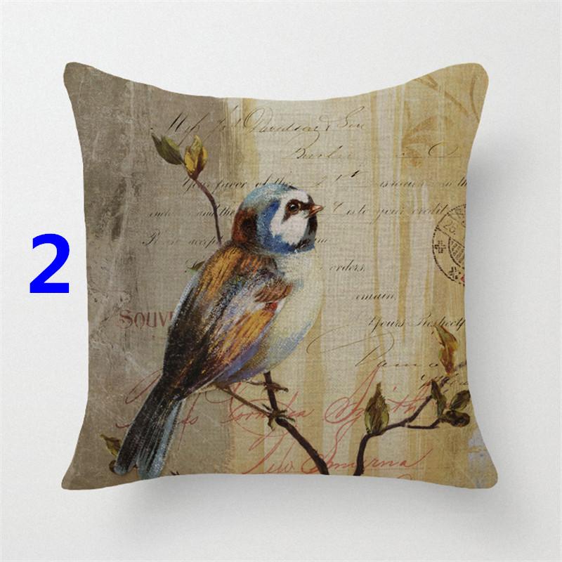 Vintage style decorative throw pillows case cotton linen seat retro bird flower cushion cover for sofa