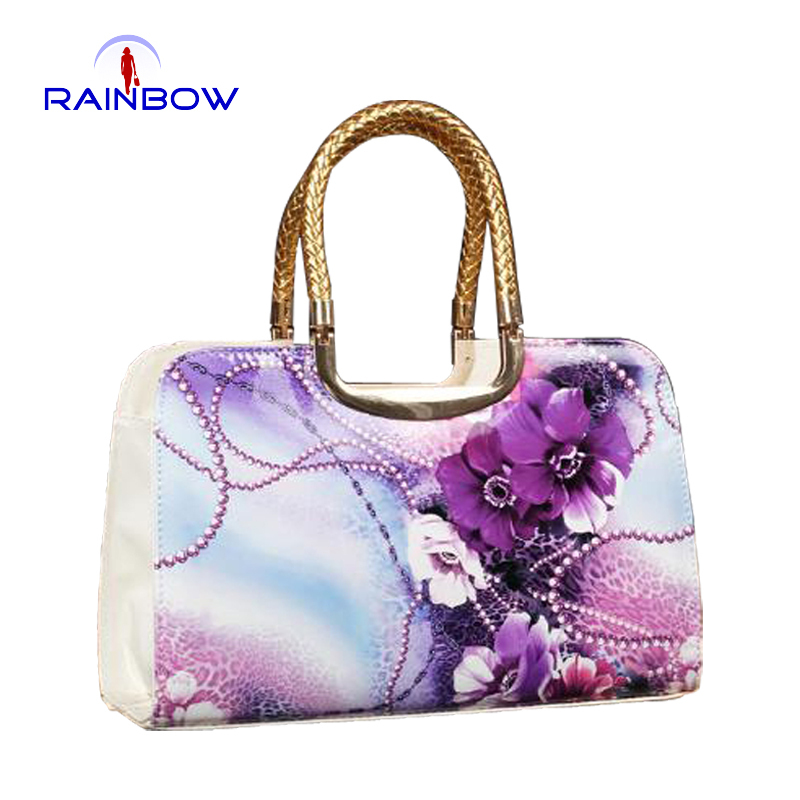 female flower print japanned leather bag oil painting shaping women's