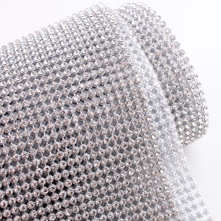 Silver aluminum mesh 45*120CM SS8 CrystalAB Rhinestone Hotfix mesh diamond for rhinestones Motif(China (Mainland))