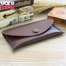 Vintage Split Leather Envelope Bag Long Men Women Wallets Card Holder Leather Purse portefeuille femme homme(China (Mainland))