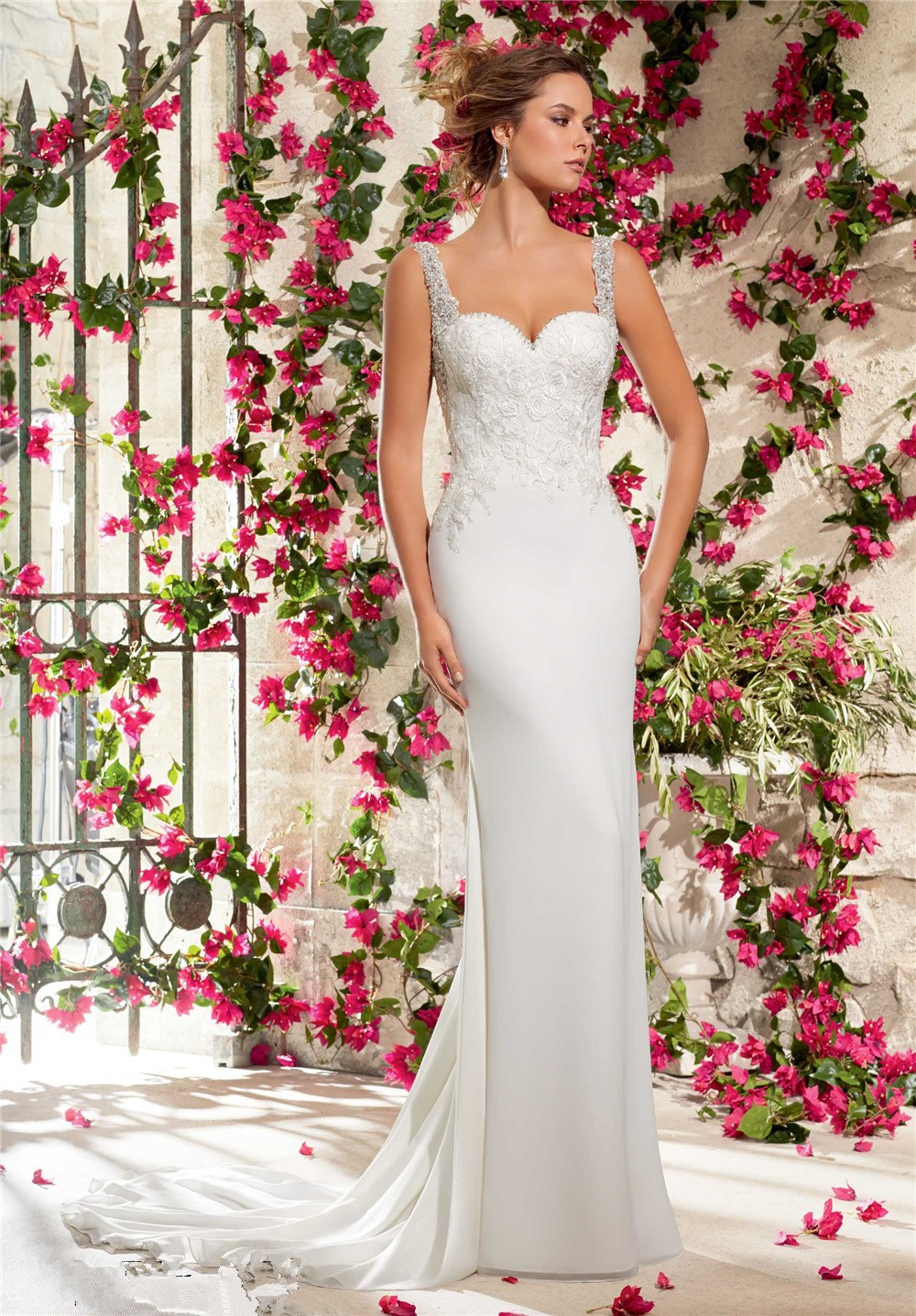 Online get cheap country style wedding dresses aliexpress for Petite wedding dress designers