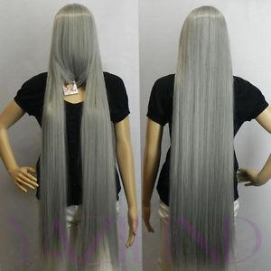 Extra Long Straight Fancy-dress Halloween Costume Anime Hair Full Wig grey<br><br>Aliexpress